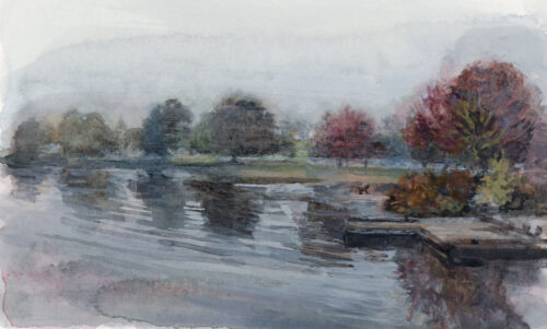 Trout Lake fall landscape, watercolour class, Katharine Dickinson