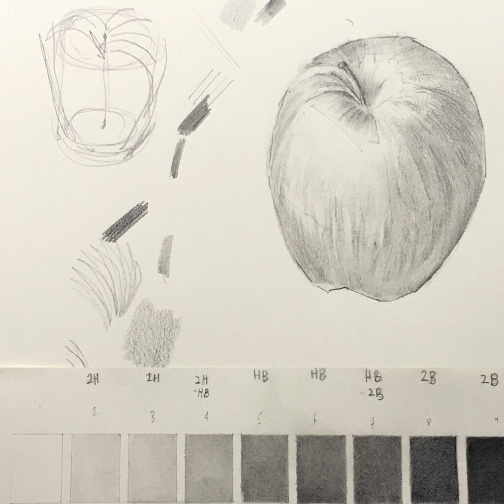 Graphite pencil shading of an apple. Katharine Dickinson