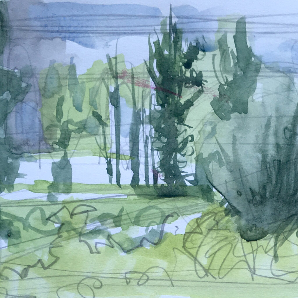 Watercolour landscape thumbnail studies Katharine Dickinson